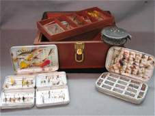 Vintage Fly Fishing Wooden Tackle Box, Lures, Reel