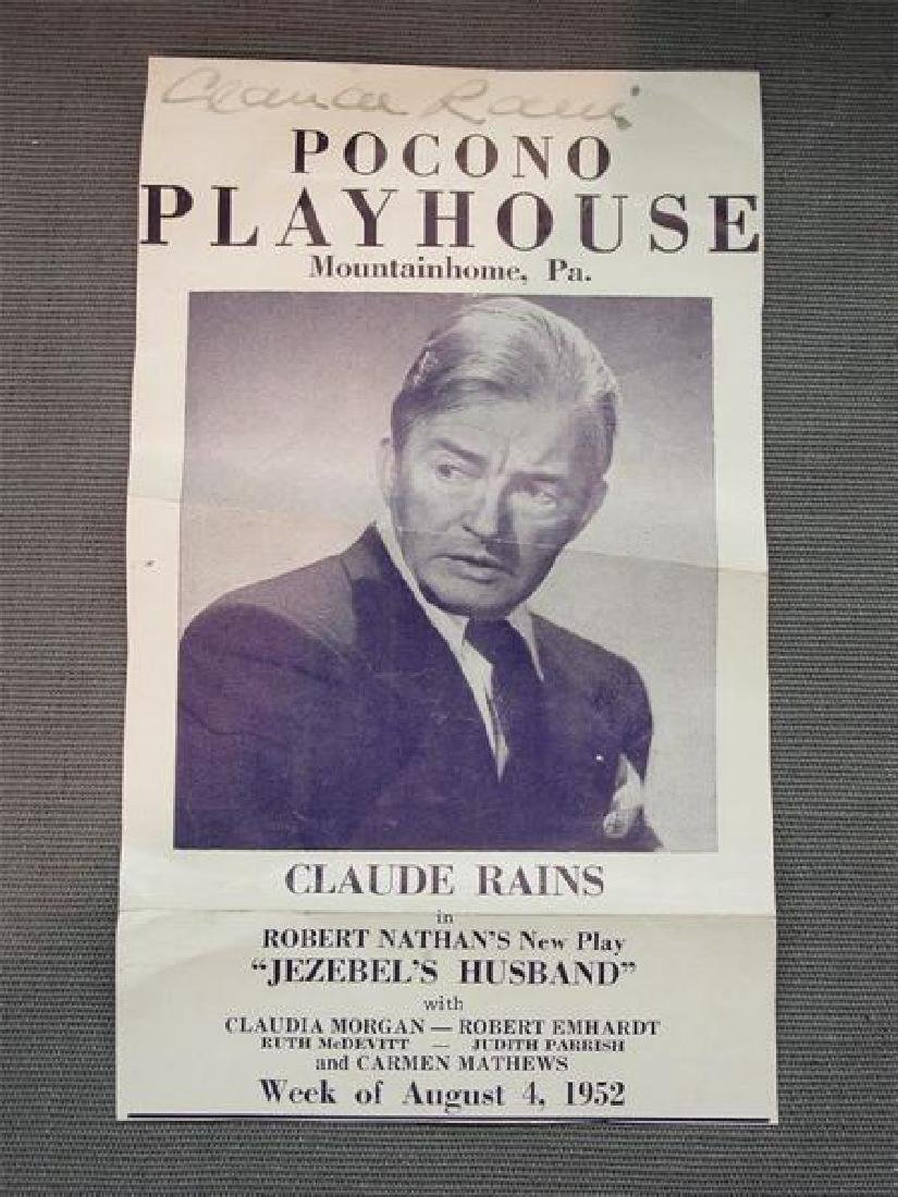 Claude Rains (1889-1967) Autograph Pocono Playhouse