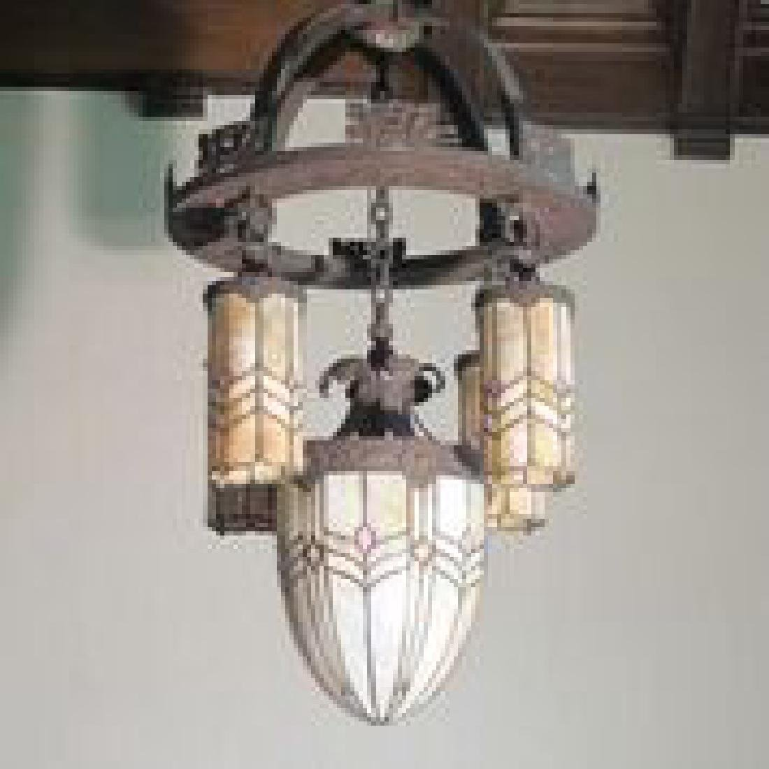 American Arts And Crafts Period Hanging Chandelier