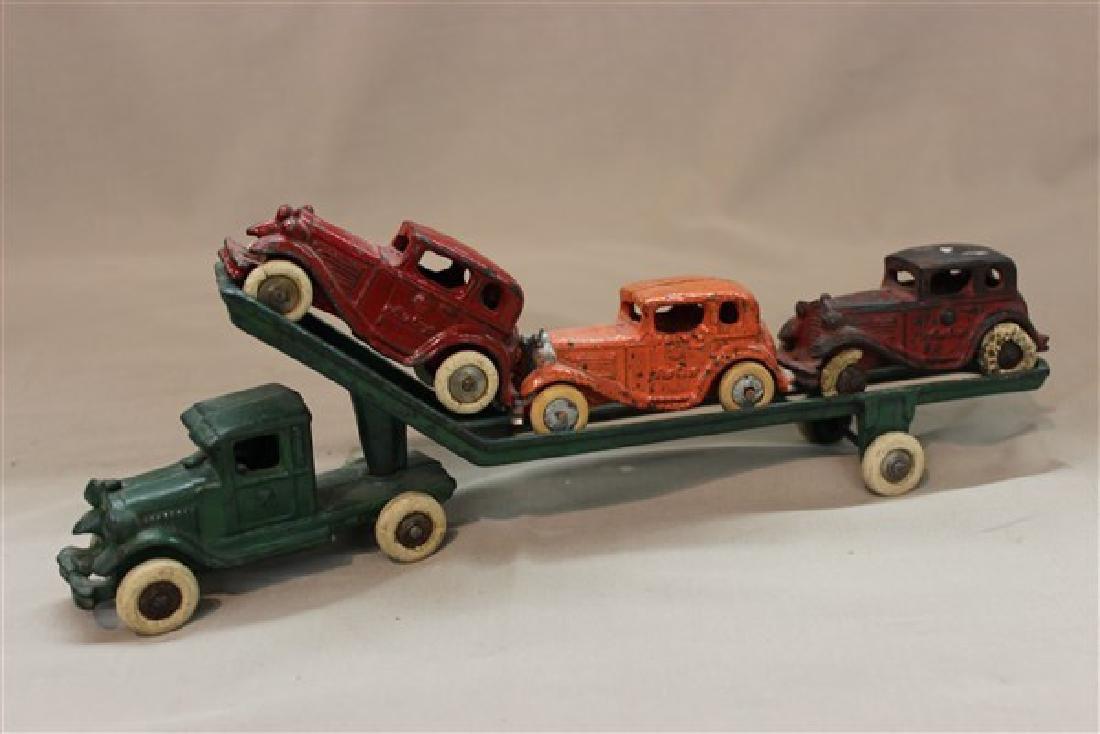 American Austin Cast Iron Car Carrier Toy