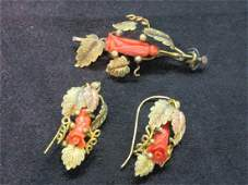14k Gold Victorian Coral Rose Carved Pin And Earrings