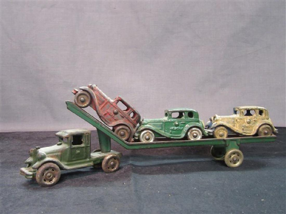 Austin Cast Iron Toy Car Carrier And Vehicles