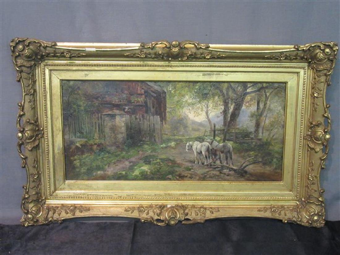 19th Century Horse and  Barn Landscape