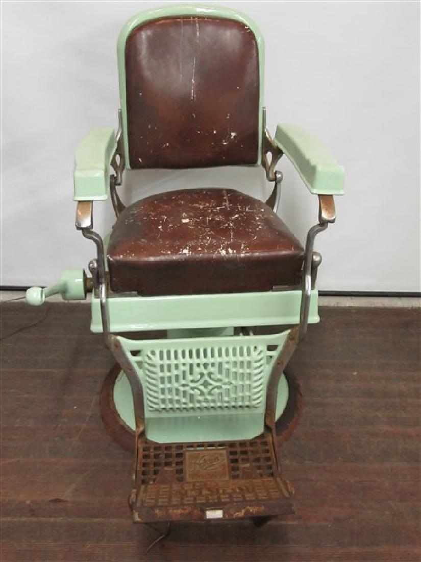 Koken Green Enameled Barber Shop Chair