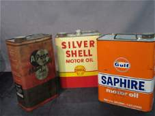 Three 3 Vintage Motor Oil Cans