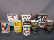 Eight 8 Piece Vintage Motor Oil Cans