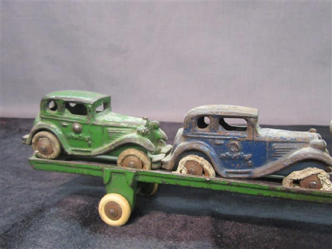 Austin Cast Iron Toy Car Carrier And Vehicles - 5