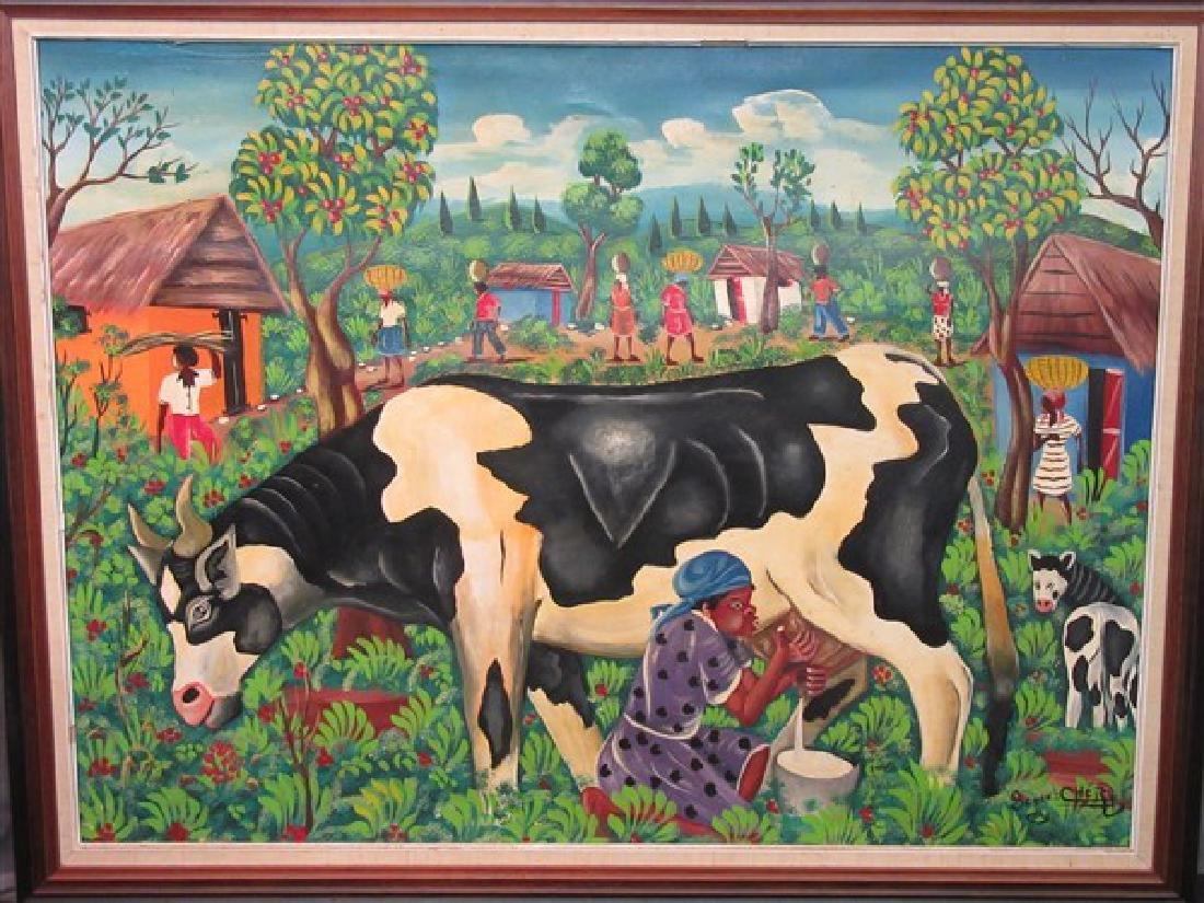 Haitian Art Oil On Canvas