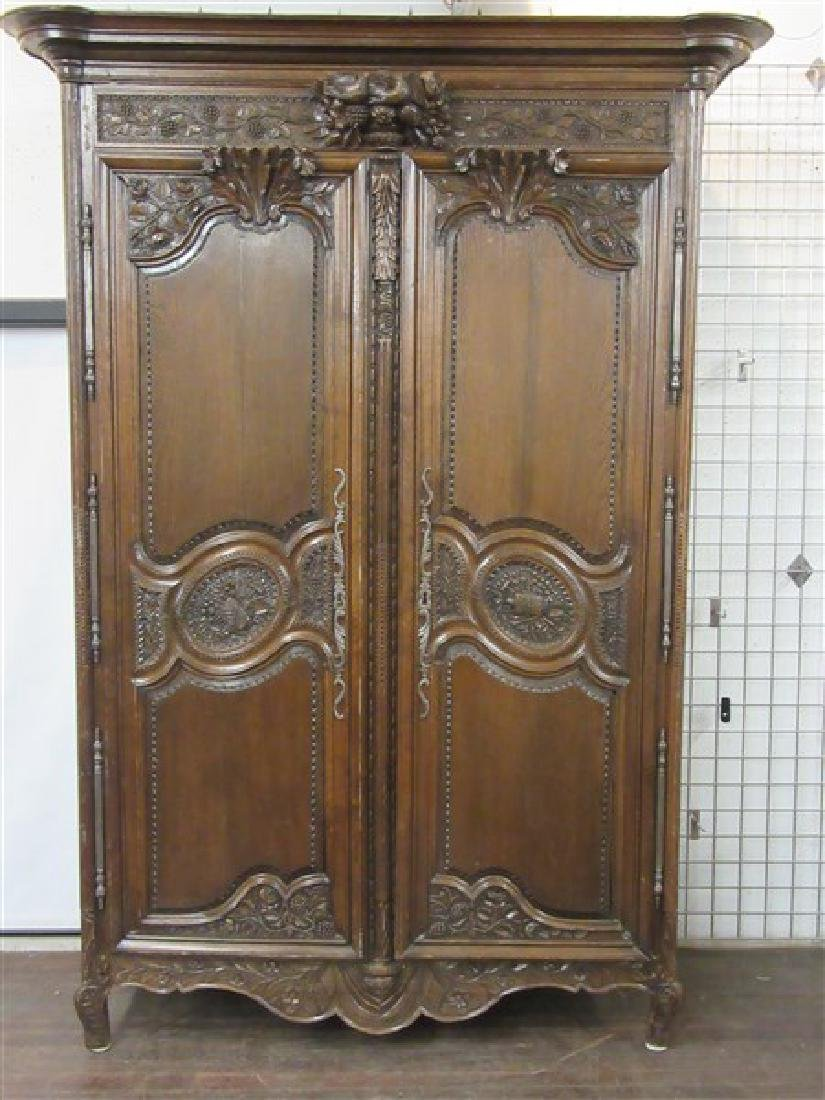 "Fine 19th C. Louis XV Palatial Size ""Wedding"" Armoire"