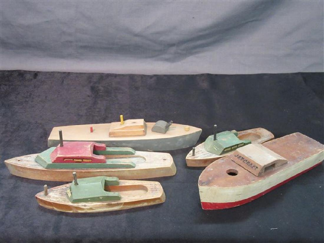 Five (5) Vintage Wooden Boat Toys
