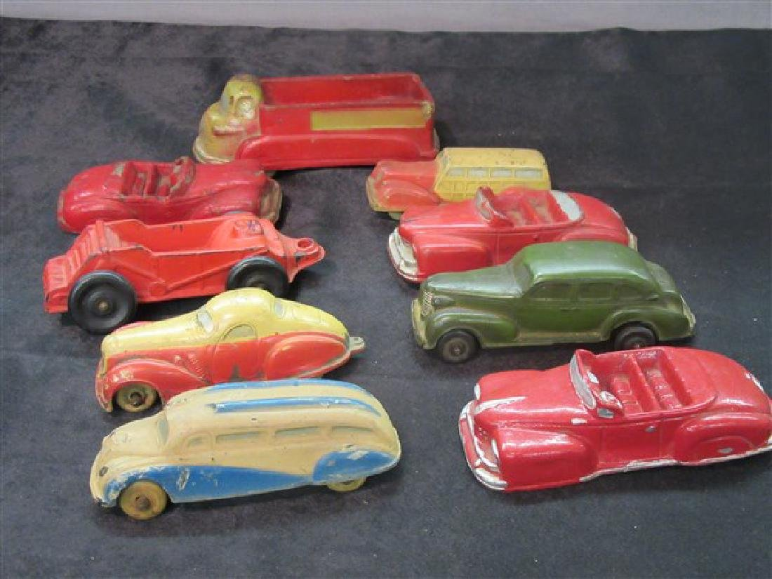 Arcur, Sun Rubber  And Auburn Rubber Toys Vehicle Lot