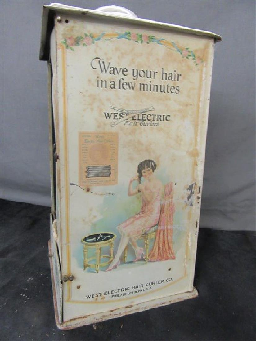 West Electric Hair Curlers Advertising Tin Display - 5