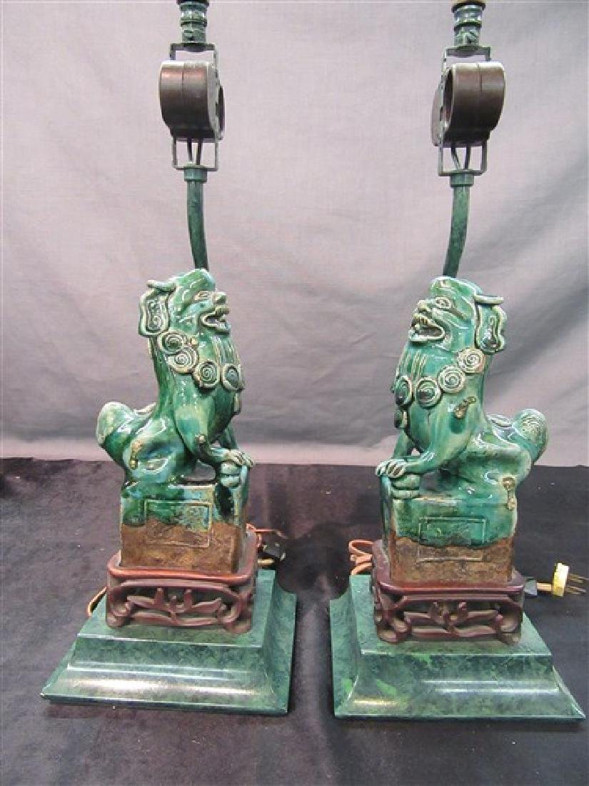 Chinese Art Deco Foo Dog Lamps