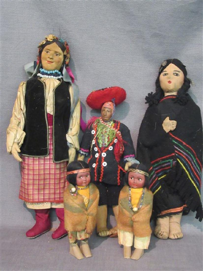 Five (5) American Indian Dolls