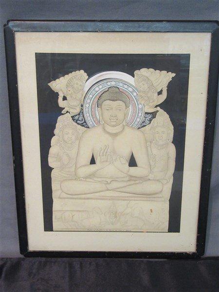 Mixed Media Buddha In The Shrine of Ajanta