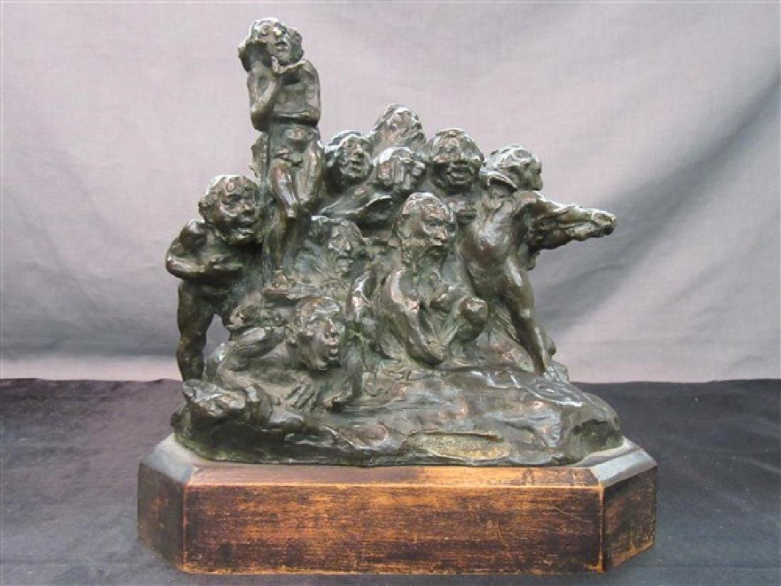 "Crude Bronze Sculpture Titled ""The Goblins"""