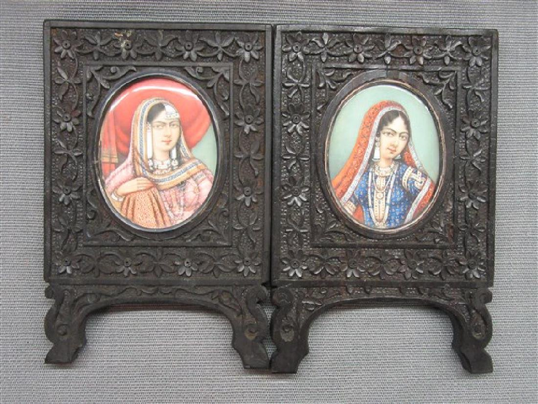 19th Century Anglo-Indian Miniature Oil Portraits