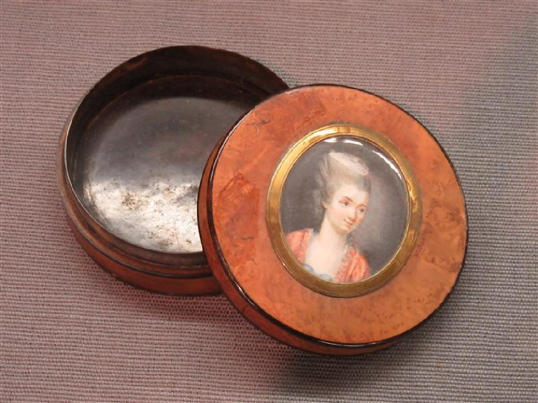 19th c. English Snuff Box With Oil Portrait