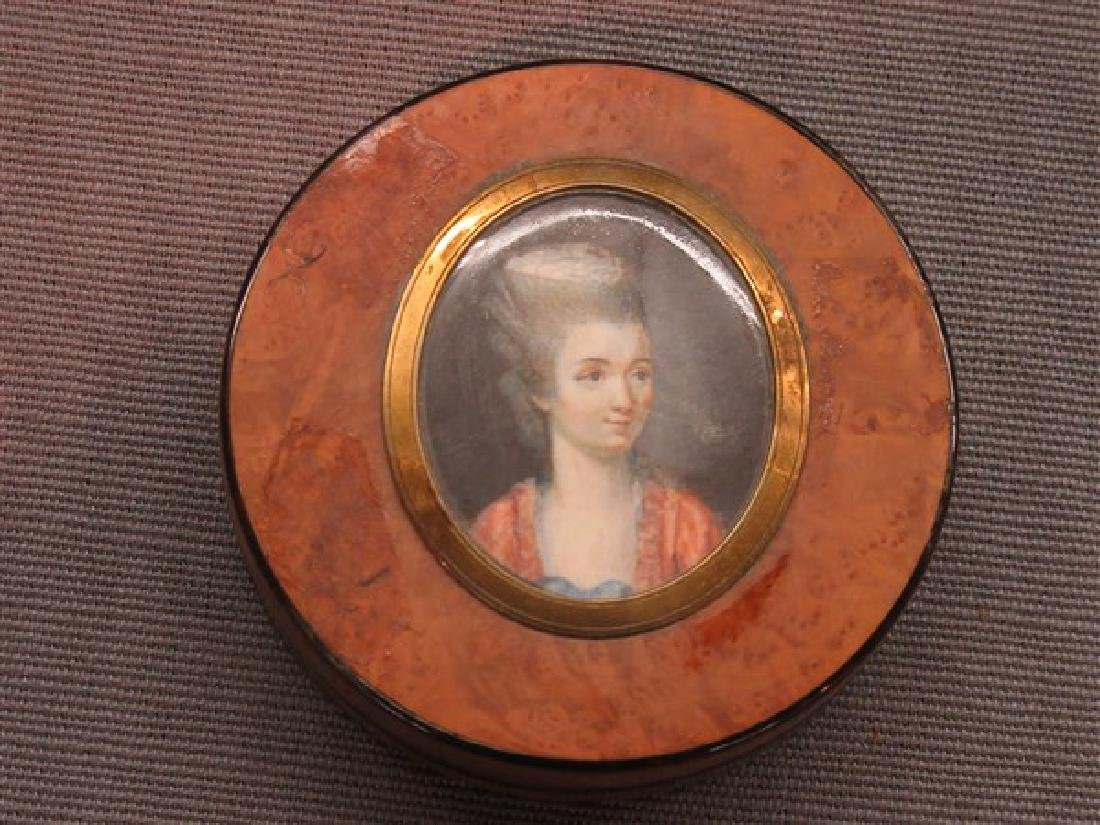 19th c. English Snuff Box With Oil Portrait - 2