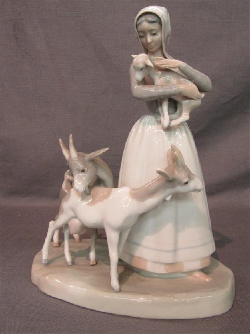 Lladro Girl With Goats And Lamb Figurine