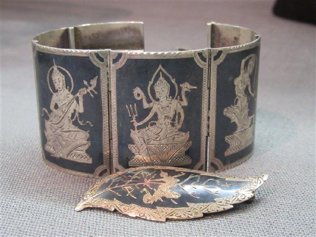 Siam Sterling Silver Bracelet And Pin
