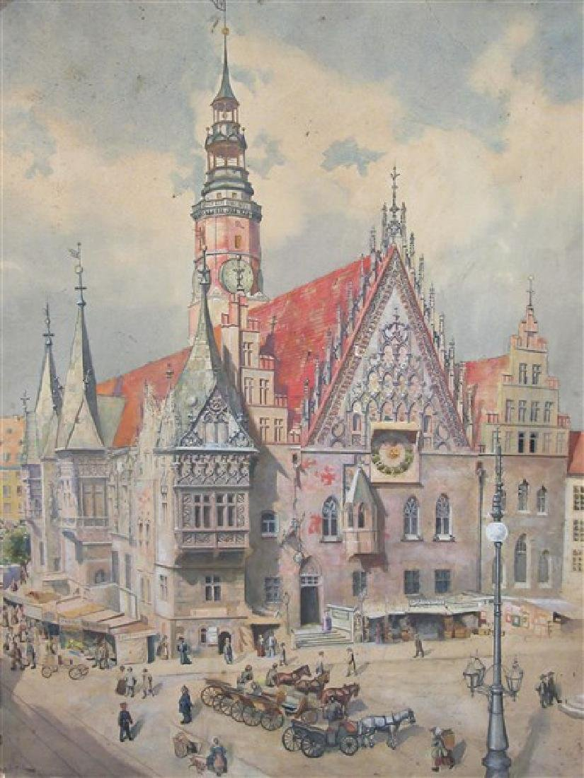 Late 19th Century Watercolor Painting City of Prague