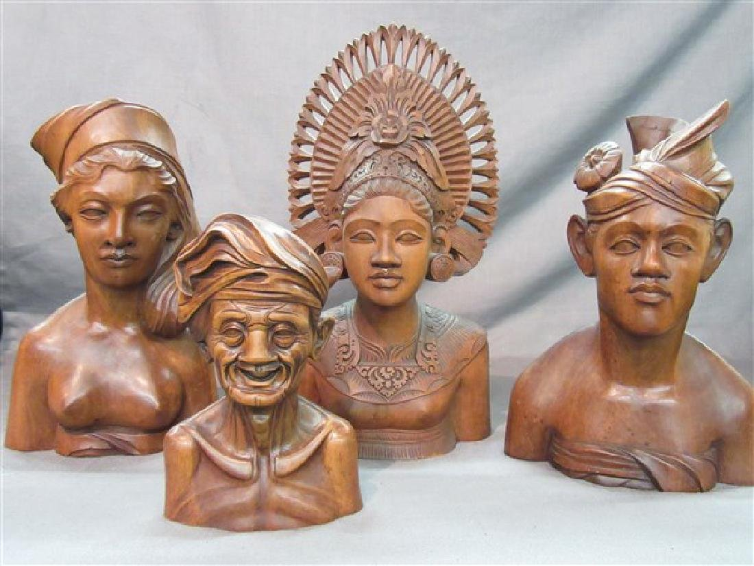 Four (4) Balinese Wood Carvings