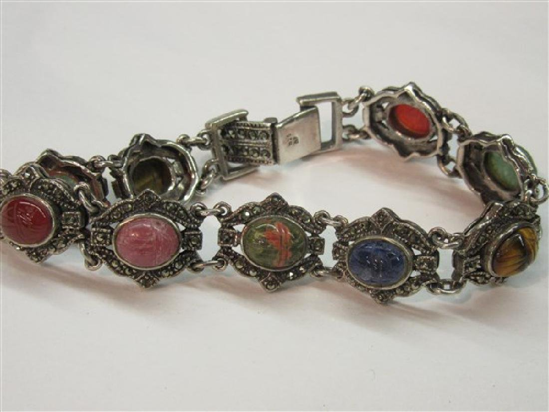 Sterling Silver Marcasite Gemstone Scarab Bracelet