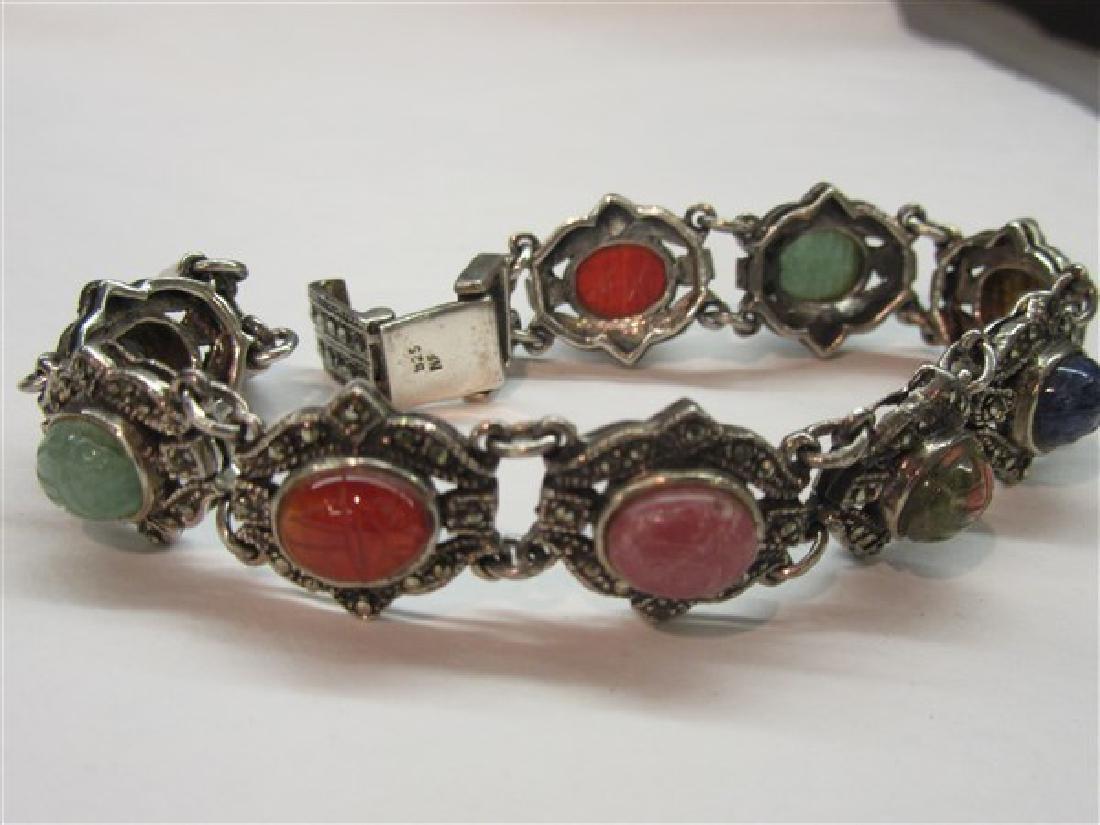 Sterling Silver Marcasite Gemstone Scarab Bracelet - 2