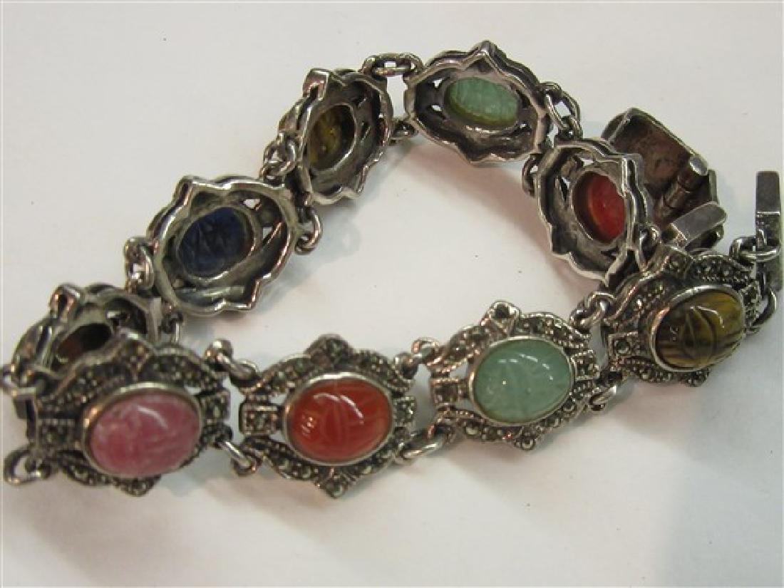 Sterling Silver Marcasite Gemstone Scarab Bracelet - 4