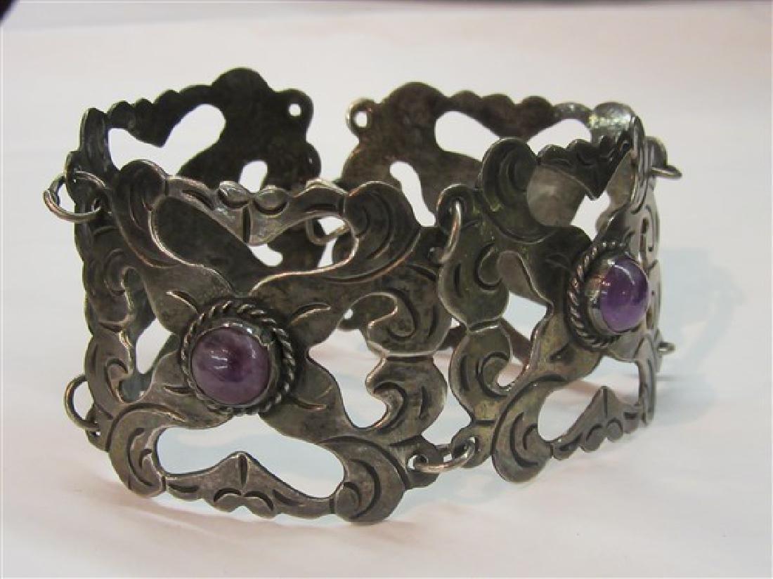 Vintage Mexican Silver Amethyst Bracelet