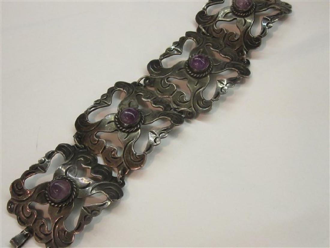 Vintage Mexican Silver Amethyst Bracelet - 2