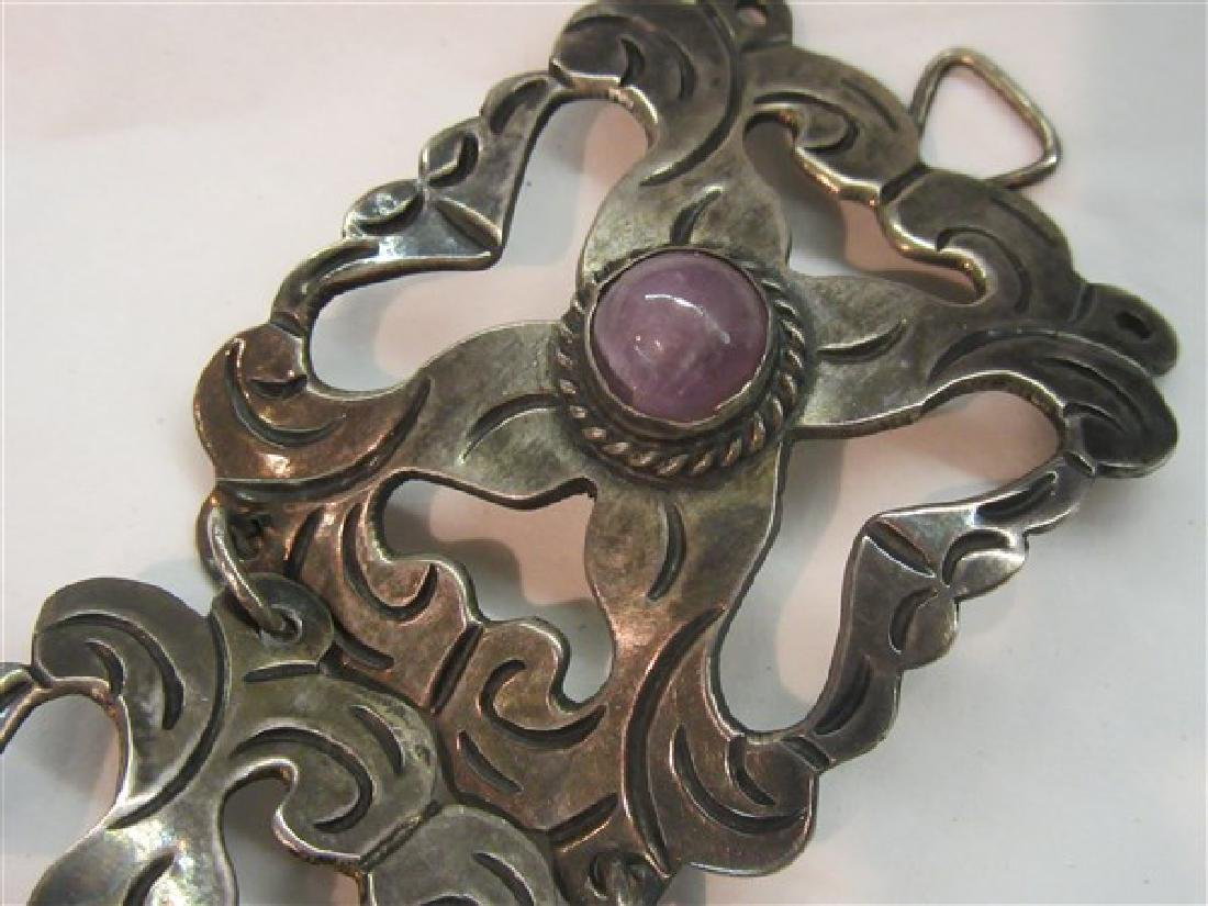 Vintage Mexican Silver Amethyst Bracelet - 3