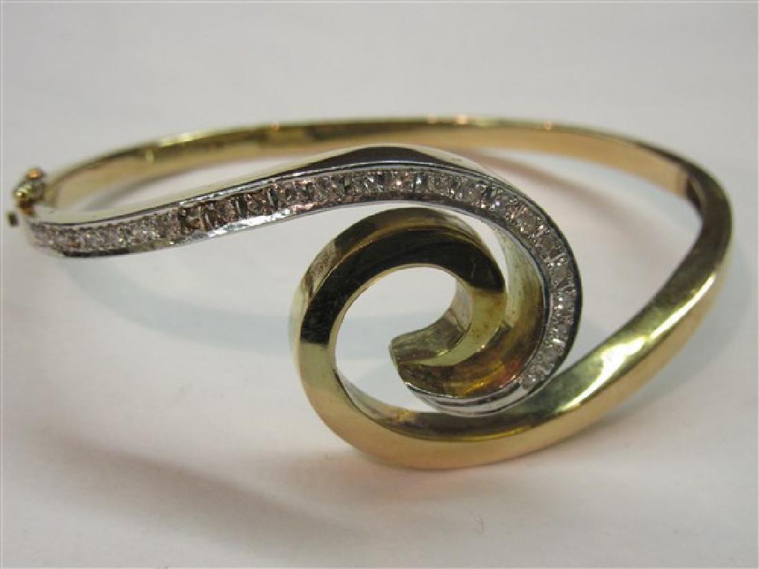 14k Y.G. Hinged Diamond Bracelet - 2