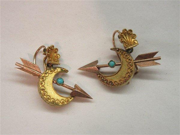 14k Edwardian Crescent Moon And Arrow Earrings