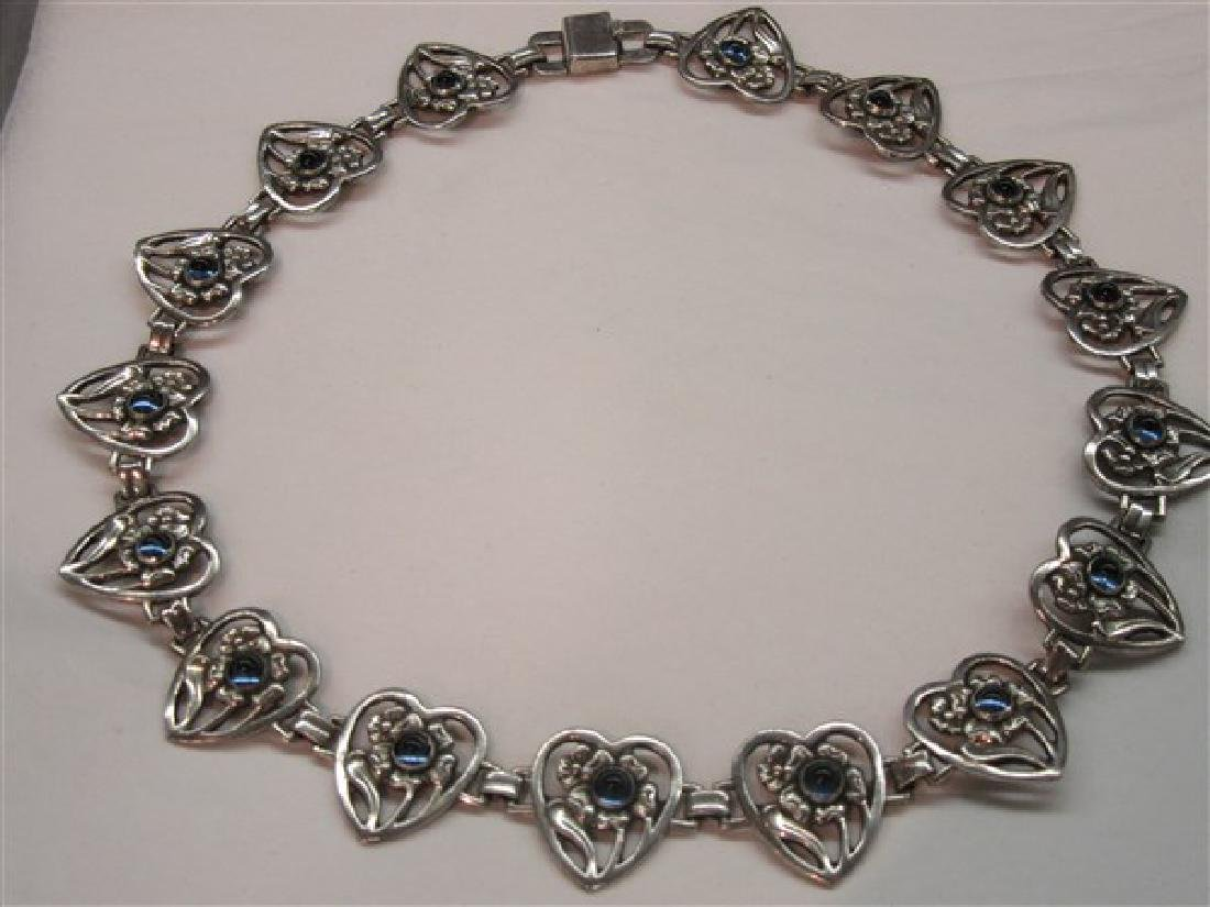 Vintage Sterling Silver Sapphire Cabochon Heart