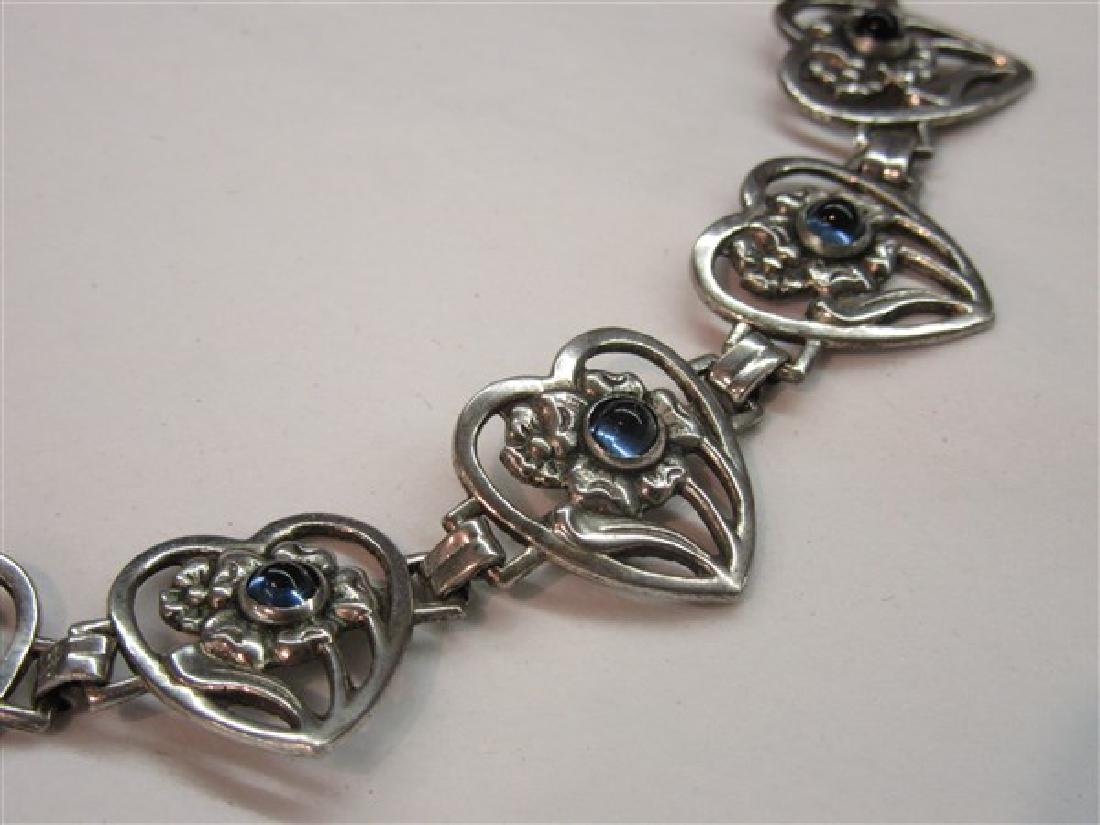 Vintage Sterling Silver Sapphire Cabochon Heart - 2