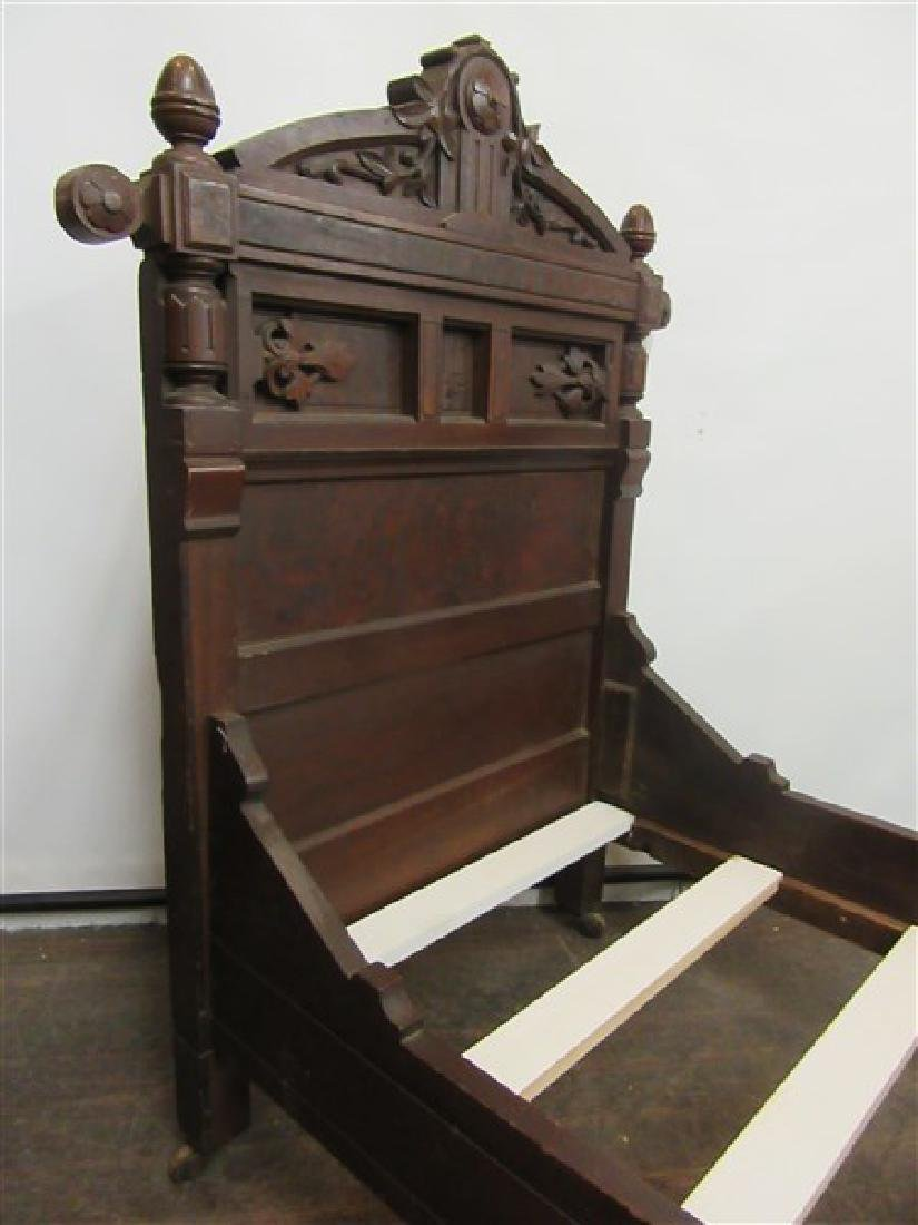 19th Century Victorian Eastlake Walnut Toddler's Bed - 7