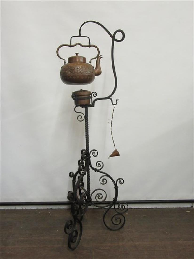19th Century Copper Teapot With Wrought Iron Stand
