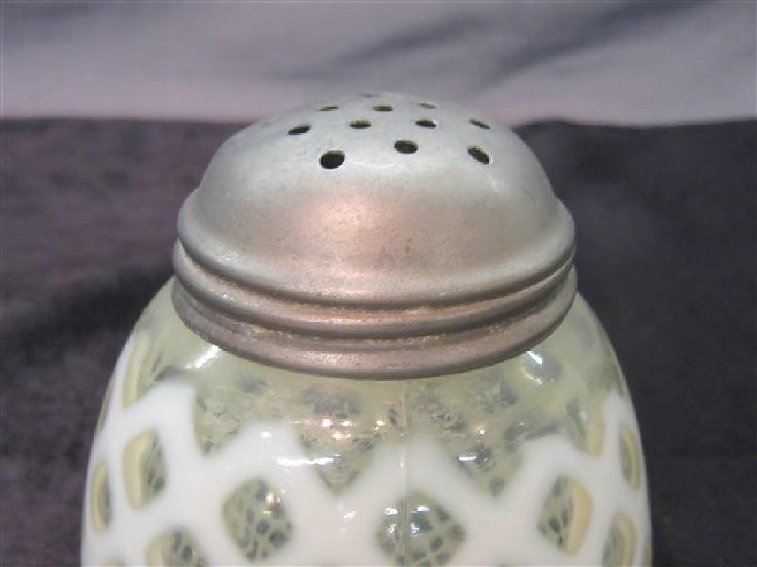 """Vintage Opalescent """"Honeycomb"""" Sugar Shaker - 2"""