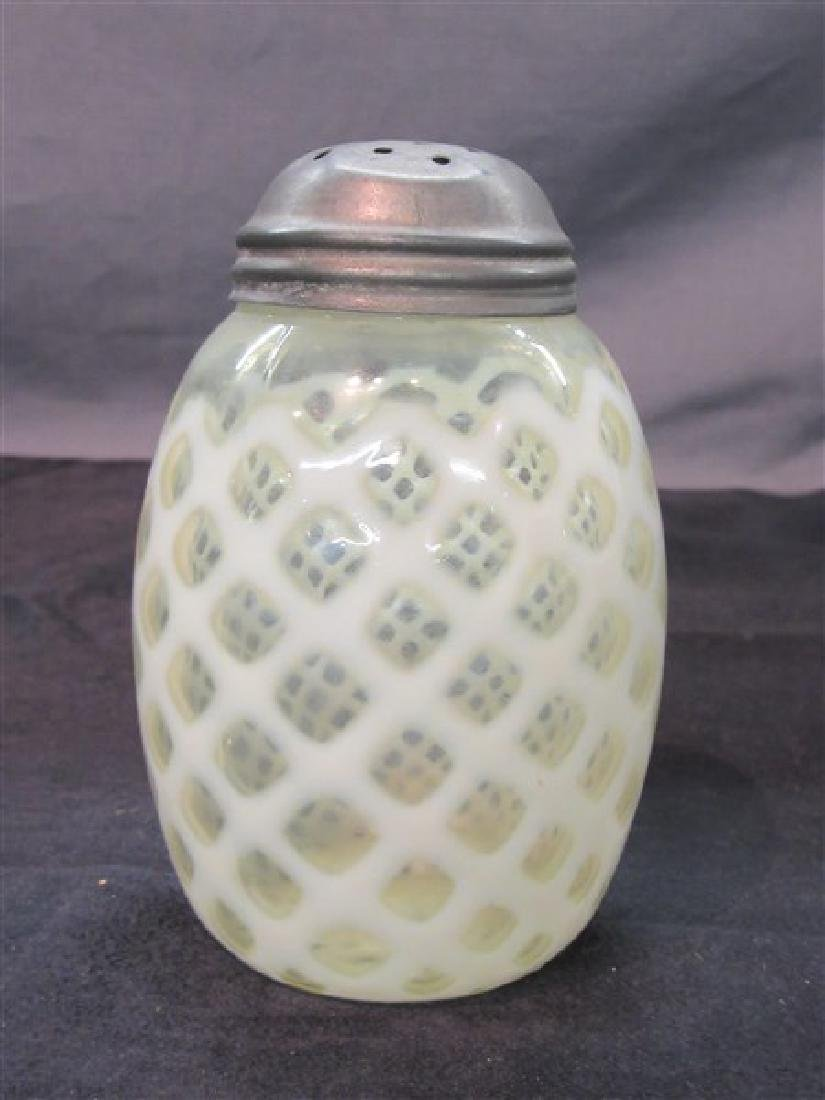 """Vintage Opalescent """"Honeycomb"""" Sugar Shaker - 5"""