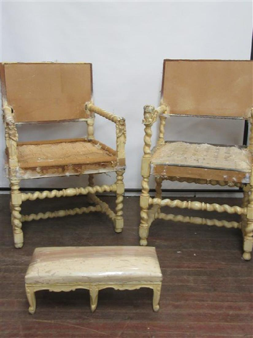 Pair Continental Style  Carved Arm Chair Frames