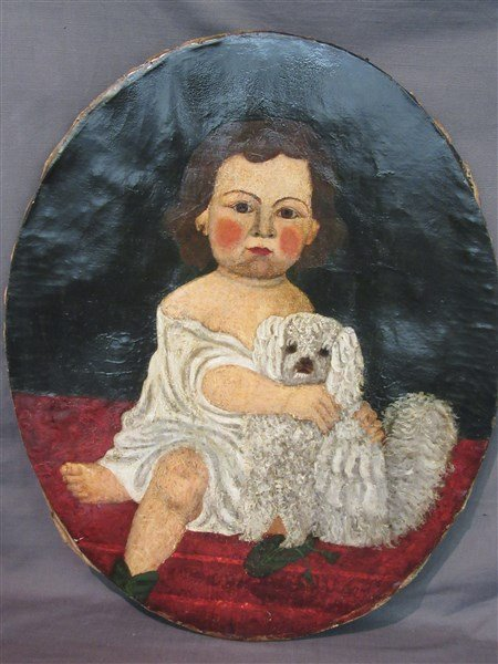 19th C. Folk Art Child With Dog Oil On Canvas