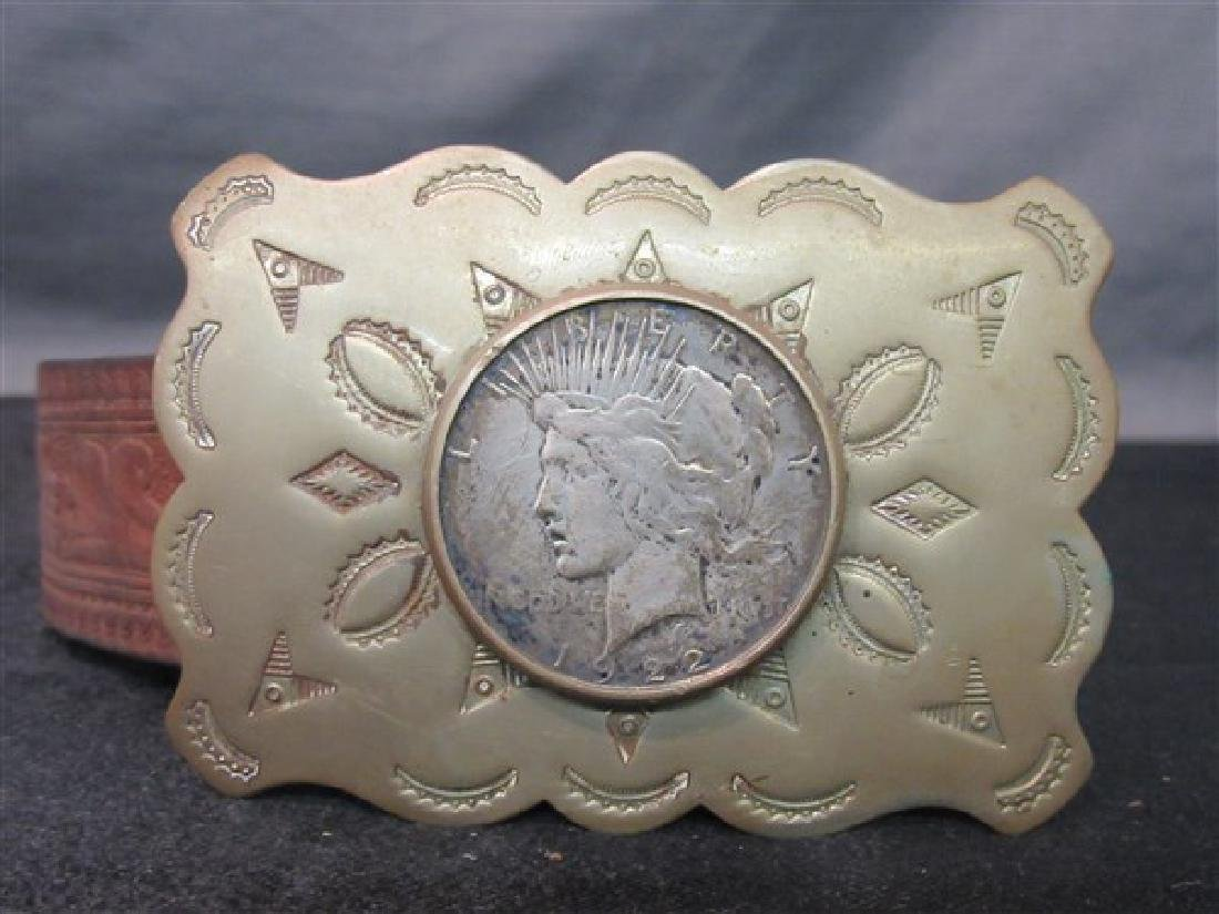 1922 Silver Peace Dollar Belt Buckle