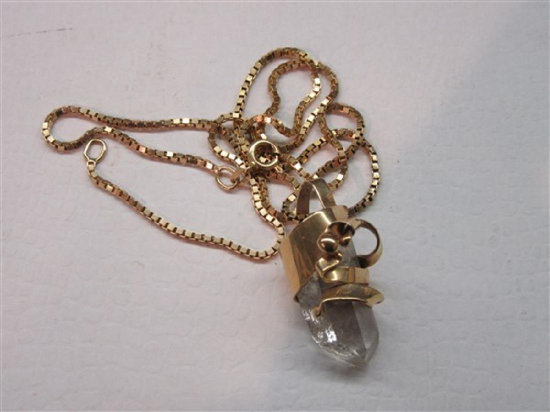 14K Gold Quartz Crystal Necklace