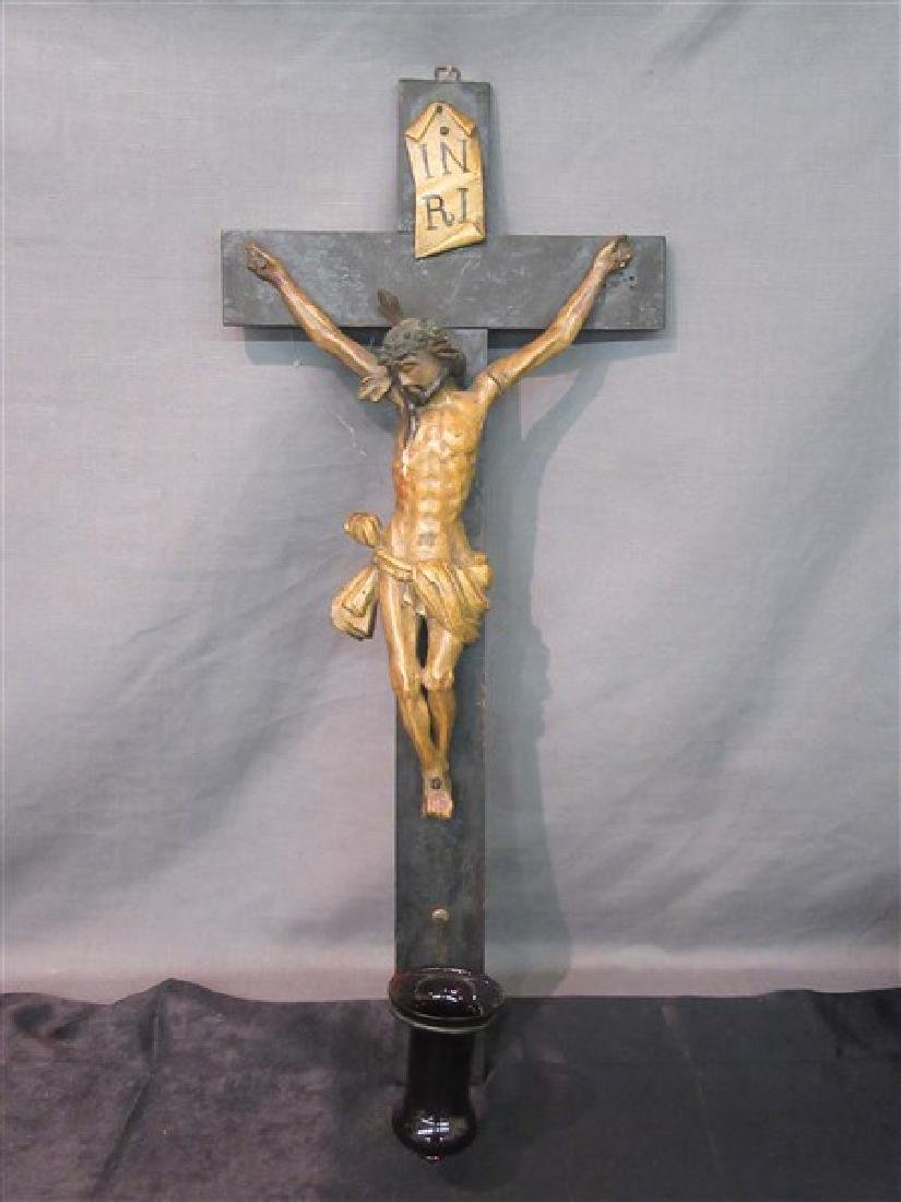 Wooden Polychrome Painted Crucifix