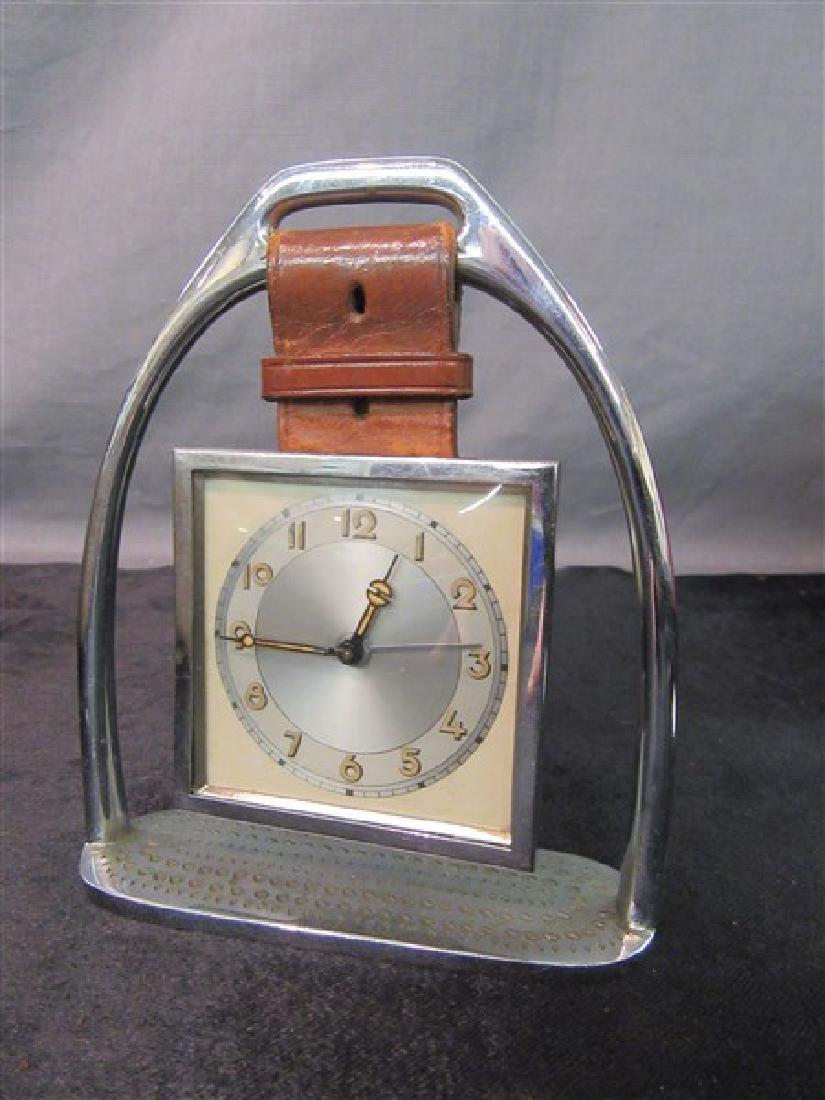 Vintage Travel Alarm Clock With Horseshoe Base