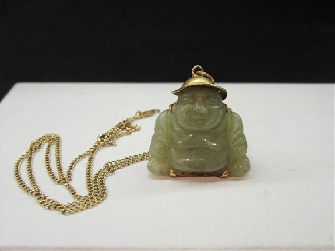 14k y.g. Chinese Carved  Jade Buddha Pendant Necklace