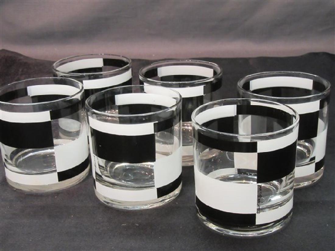 Six Georges Briard Black & White Barware Glasses