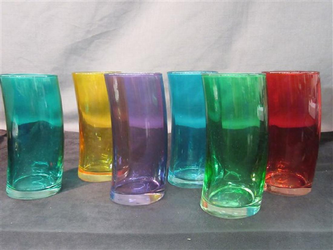 Six (6) Mid Century Colored Glass Bar Glasses